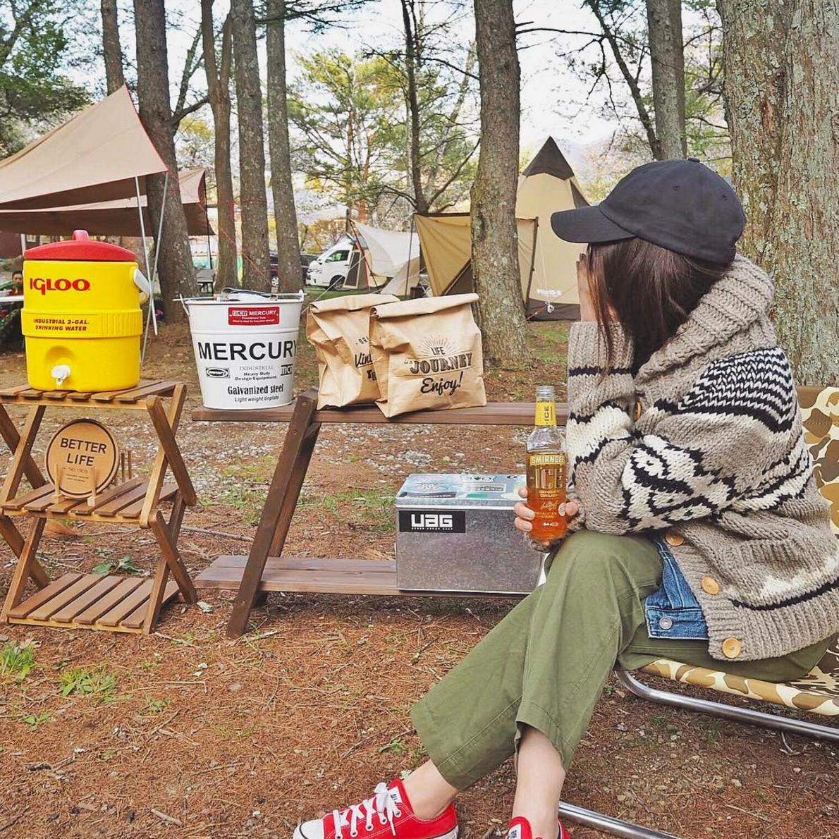 秋冬女子キャンプコーデ