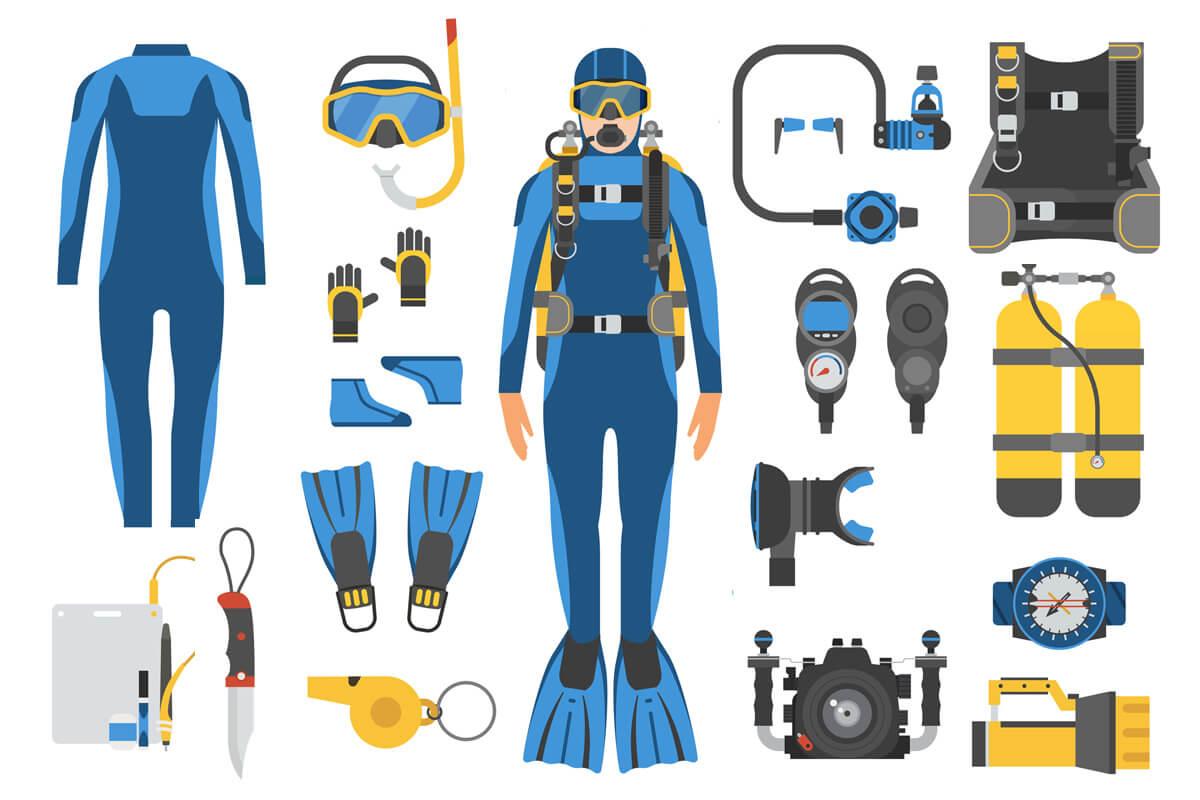 スキューバダイビングに使用するダイビング器材