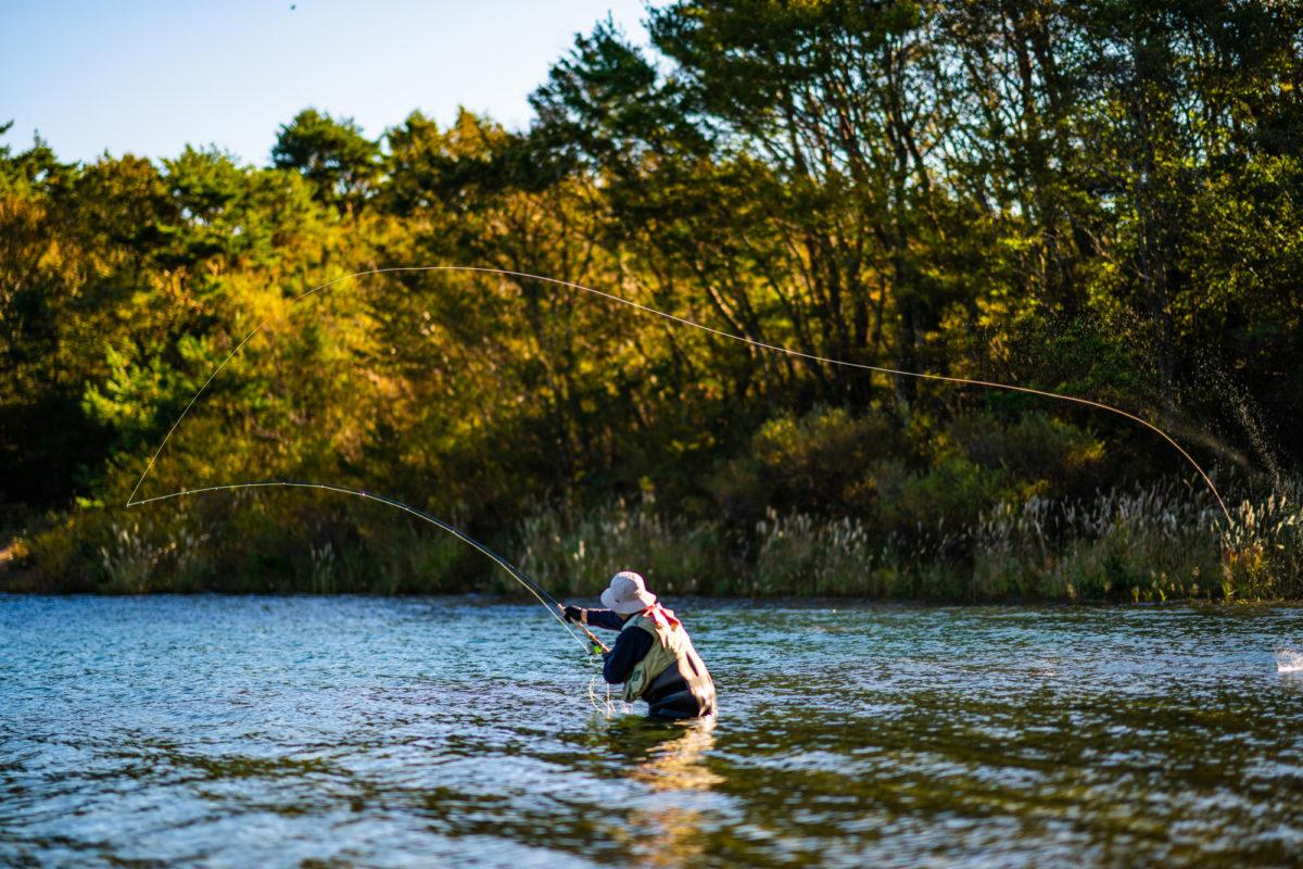 雨の日の渓流釣り