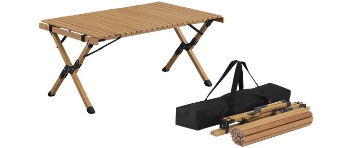 「FIELDOOR(フィールドア)」より、くるくる丸めてコンパクトに収納できる、天然木のローテーブルが新登場