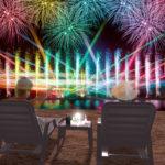 大阪府泉南市りんくう南浜(サザンビーチ)で花火、音楽と連動する噴水ショー