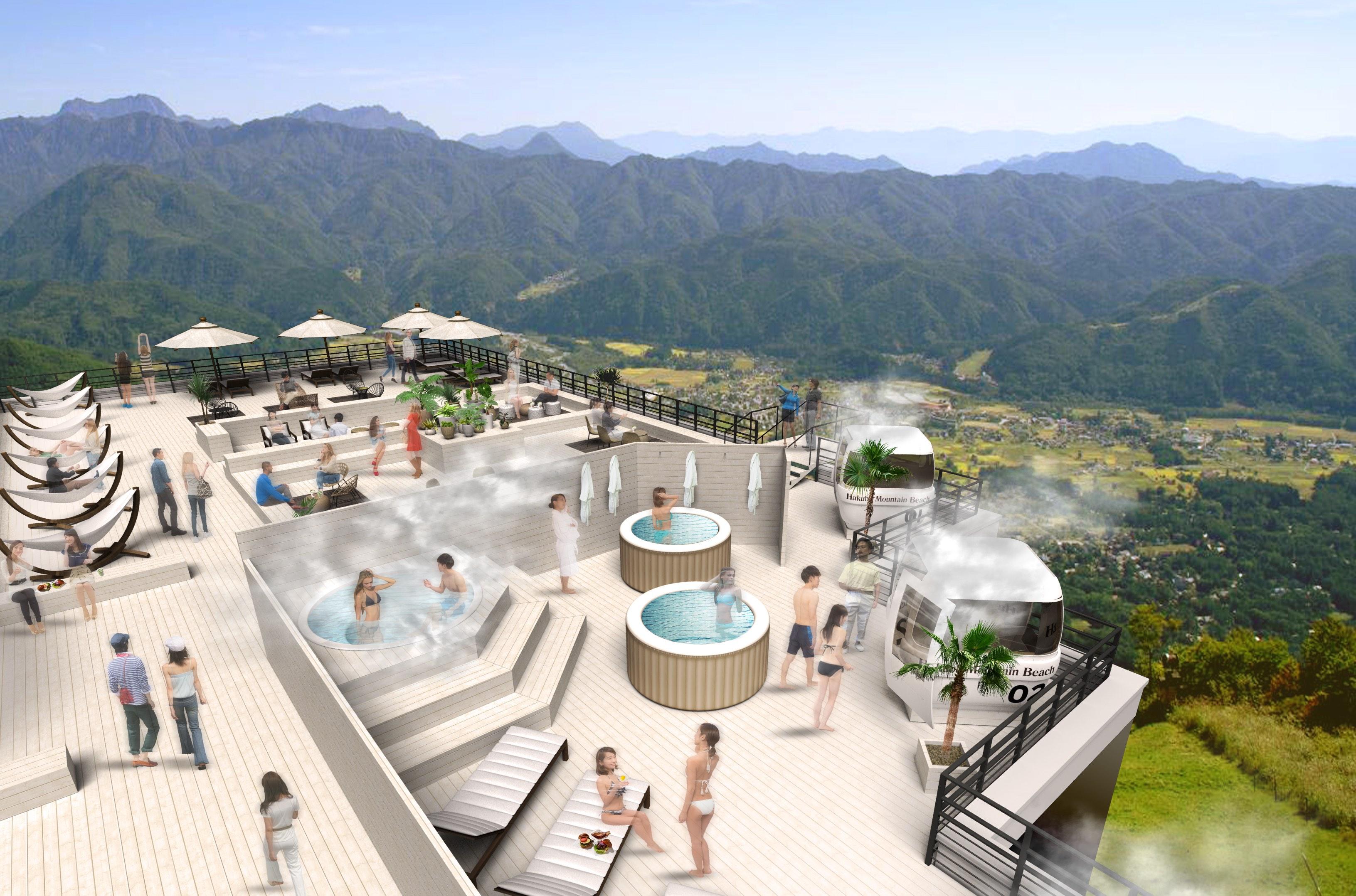 標高1,400mの山岳にビーチリゾートが誕生!「HAKUBA MOUNTAIN BEACH」、白馬八方尾根に7月26日開業予定