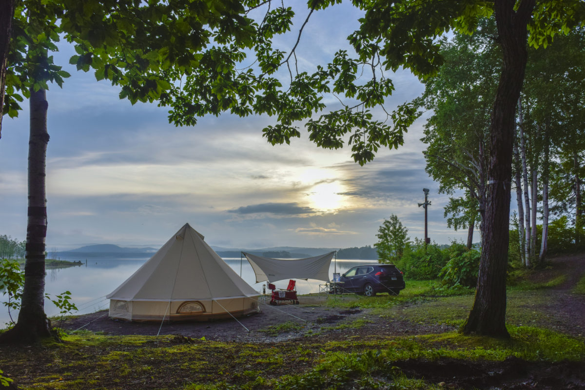 北海道の朱鞠内湖畔キャンプ場