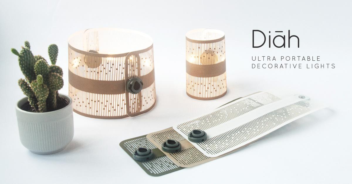 紙のように薄くてポータブル!手軽に幻想的な空間を作れる小型ランプ「Diah」