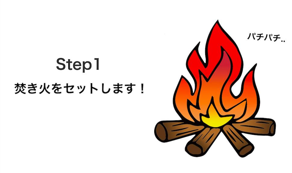 キャンプの焚き火 アートファイヤー