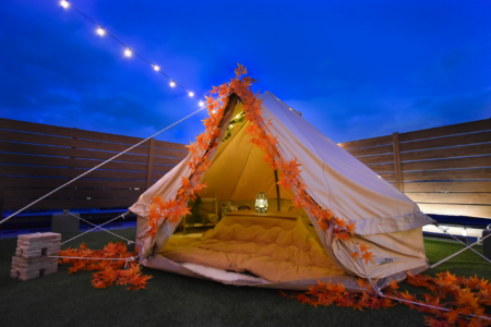 【嵐山初】プチグランピング?屋上テントでの新しい紅葉狩り、期間限定紅葉デコレーションあり
