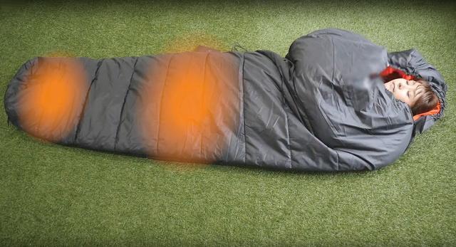 電気シュラフ(電気でほんのり温める寝袋)