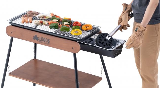 LOGOS(ロゴス)、木製パネルがテーブル&ラック棚になる新型グリル「アイアンウッドグリル」シリーズ 新発売