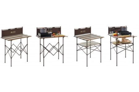 LOGOS(ロゴス)「キッチンパーティーカウンター」シリーズ発売【組立て・撤収が簡単、使いやすい高さの風防付きハイテーブル】