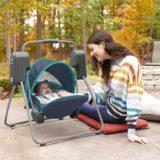 赤ちゃんとアウトドア・キャンプでリラックス「たためる!電動スウィング」