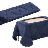 秋冬キャンプにLOGOSの「丸洗いやわらか こたつ布団シュラフ」、こたつに変身&寝袋にやわらか素材をプラス!