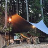 撥水・ヴィンテージ加工を施したデニム製タープは雨の日も焚火キャンプを楽しめる!