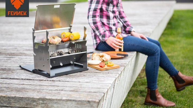 ドイツ製BBQコンロ『FENNEK Grill』はノートPCの薄さまでスリムになるバーベキューコンロ