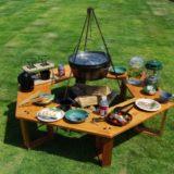 秋キャンプにぴったりな木のぬくもりを感じる 「ヘキサテーブル」が発売