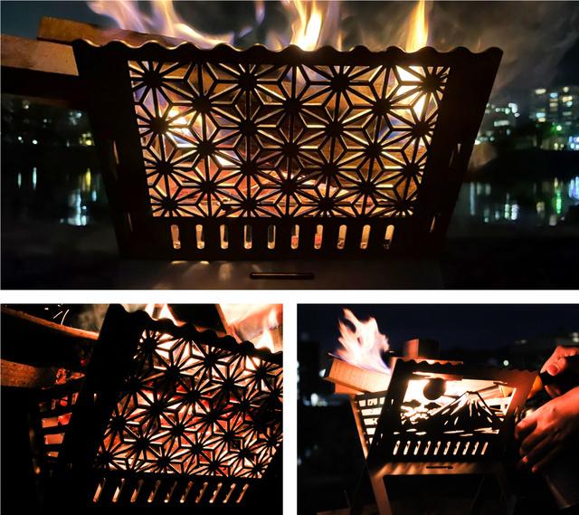 ステンレス製「和柄焚き火台」