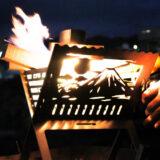 ステンレス製「和柄焚き火台」は風情と炎を同時に愉しめる、ちょっと贅沢な時間