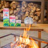 白バラ牛乳のシェラカップ、キャンプ場とネットで発売