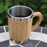 「BAMBOO MUG」は本物の竹とスレンレスを組み合わせたマグカップ