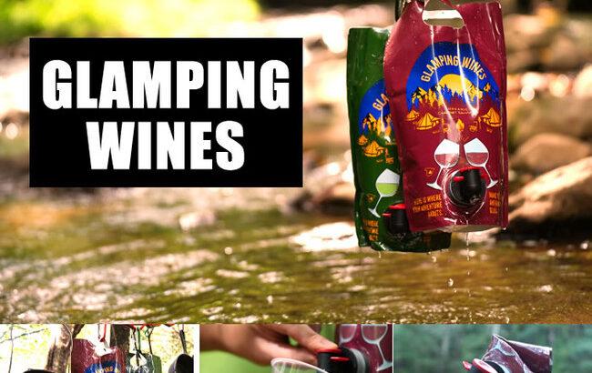 割れる心配無しのアウトドア向けパウチ型ワイン「グランピングワインズ」発売